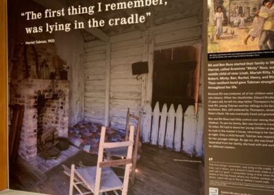 Quote and image inside former slave quarters